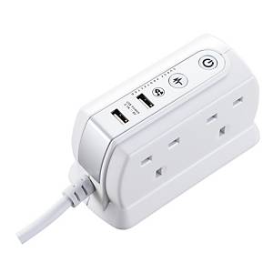 SRGDU41PW2-MP Surge USB Extension Lead 4-Socket 1m 13A CMP Gloss White
