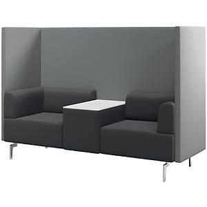 Besuchersessel + Tisch Rocada 1805, 2 Sessel + Tisch, schwarz/grau