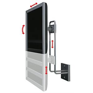 R-Go Up & Down Monitor Wall Mount, Tilt & Swivel, Up to 27  screens, Silver