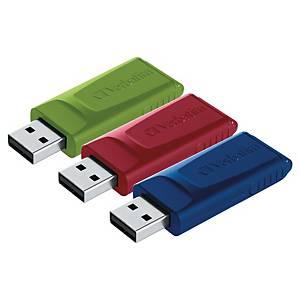 Verbatim Slider USB-Stick, 16 GB, 3 Stück, rot/blau/grün