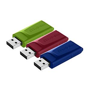 Verbatim 49326 Store ´n´ Go USB Drive 2.0 Slider 16GB Asst - Pack Of 3