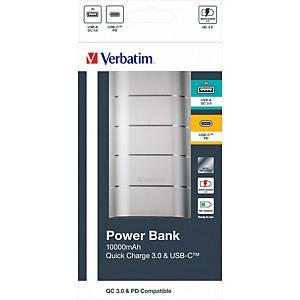 Verbatim 49573 Powerbank 10000mAh QC3 & USB-C Grey/Silver Metal
