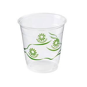 Pack de 50 vasos Nupik de plástico compostable - 250 ml