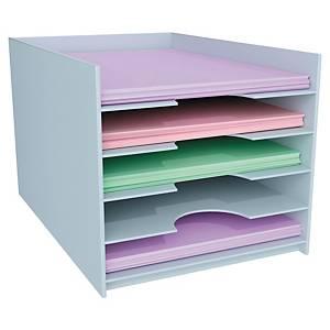 Système de rangement Paperflow pour armoires, 5 compartiments A4, gris
