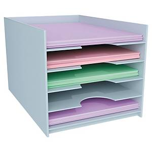 Paperflow horizontal organizer with 5 compartments for cupboards grey
