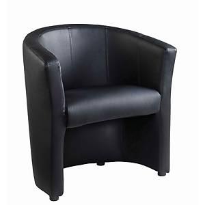 London Tub Chair Faux Leather Black - Del & Ins