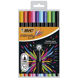 Bic Intensity Felt Pens Fine Asst - Pack Of 10