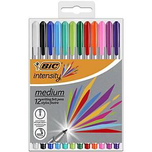 Bic Intensity Felt Pens Medium Asst - Pack Of 12