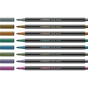 STABILO Pen 68 Fibre Tip Pens Metallic Asst - Pack Of 8