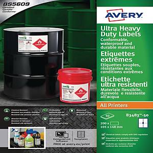 Etichette uso industriale Avery B3655-50 in Teslin 210x148 mm bianco - conf. 100