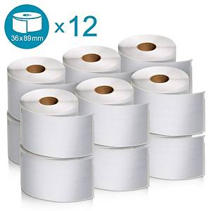 DYMO Label Writer Address Label Roll 36x89mm - Pack Of 12