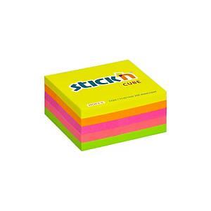 Samolepicí bločky v kostce STICK N by Hopax, 51 x 51 mm, 250 lístků, neon mix