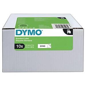 Teksttape Dymo D1, 12 mm, sort/hvid, pakke a 10 kassetter
