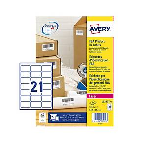 Avery L7230-50 FBA Label Sheet Perm 21-UP 63.5x38.1mm - Pack Of 50