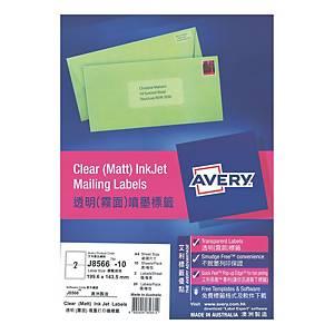 Avery 艾利 J8566 透明噴墨標籤 199.6 x 143.5毫米 每張2個標籤