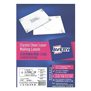 Avery 艾利 L7566 透明鐳射標籤 199.6 X 143.5毫米 每張2個標籤