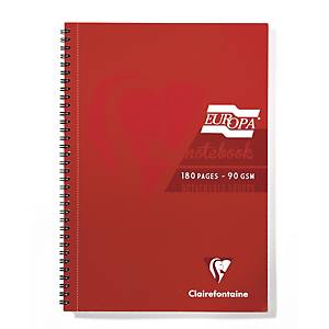 Europa Notebook A4 Wire-Bound Red