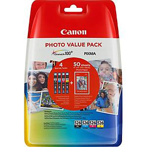 Photo Value Pack CANON CLI-526PA, IP 4850, CMYBK, emb. de 4x9ml/50 feuilles