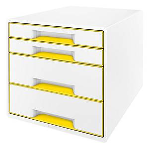 Zásuvkový modul Leitz WOW, 4-zásuvkový, biely/žltý