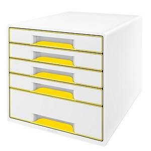 Zásuvkový modul Leitz WOW, 5-zásuvkový, biely/žltý