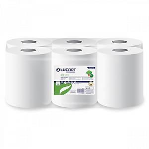 Pack de 6 bobinas de papel reciclado industriais Lucart - 100 m - 1C - Branco