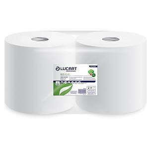 Pack de 2 bobinas de papel reciclado industriais Lucart - 342 m - 2C - Branco