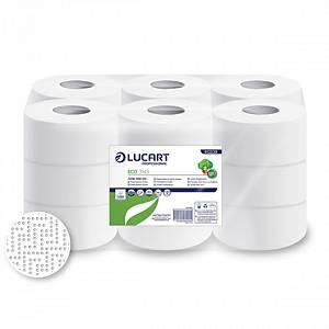 Pack de 18 rollos de papel industrial Lucart reciclado - 143 m - 2C - Blanco
