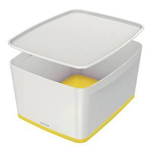 Pudełko LEITZ MyBox duże z pokrywką, biało-żółte