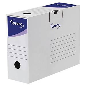Boîte d'archives Lyreco, dos 10 cm, carton, blanche-bleue
