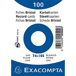 Cartes-fiches Exacompta A7 neutres, blanc, emb. de 100 pces.