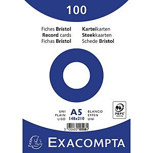 Cartes-fiches Exacompta A5 neutres, blanc, emb. de 100 pces.