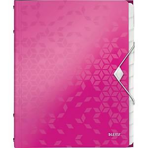 Ordnungsmappe Leitz 4634 WOW, 12 Fächer, mit Gummizug, pink metallic
