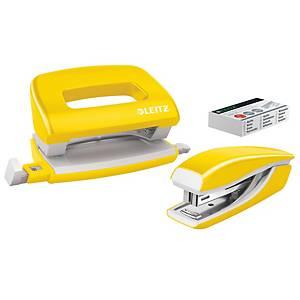 Súprava zošívačky a dierovača Leitz NeXXt WOW, kapacita: 10 listov, žltá