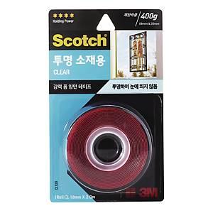 3M 스카치 강력 투명 소재용 폼 양면 테이프 CL120 18mm X 2m