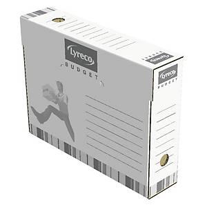 Scatolea archivio Lyreco montaggio manuale dorso 8 cm  bianco - conf. 25