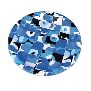 Marimekko Miniruutu unikko sininen kartonkilautanen, 1 kpl=8 lautasta