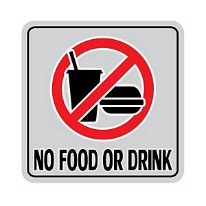 NO FOOD OR DRINK ALUMINIUM SIGN STICKER 15 X 15 CENTIMETERS