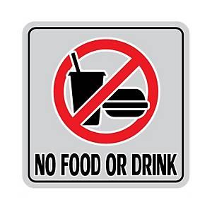 ป้ายสติกเกอร์อะลูมิเนียม  ห้ามรับประทานอาหารและเครื่องดื่ม  15ซม. x 15ซม เงิน