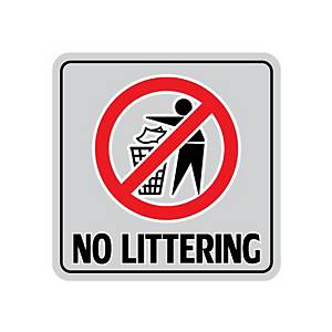 NO LITTERING ALUMINIUM SIGN STICKER 15 X 15 CENTIMETERS