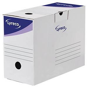 Boîte d'archives Lyreco, dos 15 cm, carton, blanche-bleue