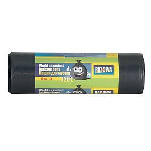Worki na śmieci LDPE 120 l, czarne, 10 sztuk