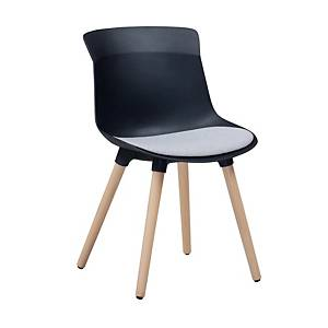 SIMMATIK L-7-08MZ Breakroom Chair Wooden Leg Black