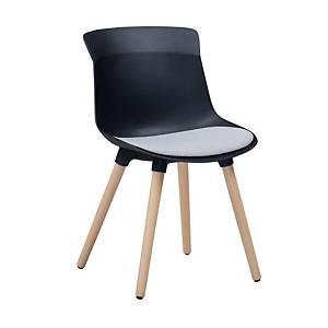 SIMMATIK เก้าอี้พักคอย L-7-08MZ ขาไม้กลม สีดำ