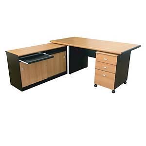 ITOKI EXC Desk Office Table Set Cherry/Black Left