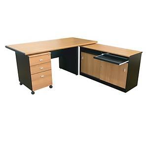 ITOKI EXC DESK OFFICE TABLE SET CHERRY/BLACK RIGHT