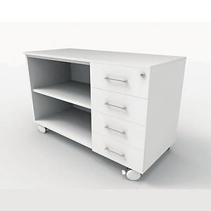 Mueble auxiliar 4 cajones con Ruedas - 122 x 60 x 60 cm - blanco