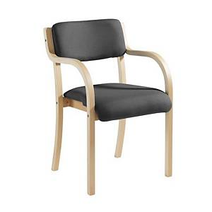Conference Chair With Arm Rests Wood-Framed Charcoal - Delivery Only