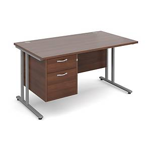 Maestro 25SL Straight Desk With 2-Drawer Pedestal 1400mm Walnut - Delivery Only