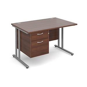 Maestro 25SL Straight Desk With 2-Drawer Pedestal 1200mm Walnut - Delivery Only