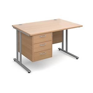 Maestro 25 SL straight desk with 3 drawer pedestal 1200mm beech - Del & Ins